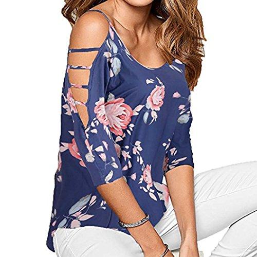 VEMOW Sommer Heißer Verkauf Elegante Dame Mädchen Frauen Lose Ausgehöhlte Schulter Casual Party Datum Strand Blumendruck Bluse Tops Pulli(Blau, EU-42/CN-M)