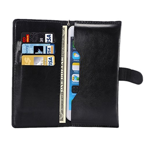 """DFV mobile - Cover Premium Synthetic Leather with Card Case and Close by Magnet for =>      APPLE IPHONE 6 [4,7""""] > Black Black"""