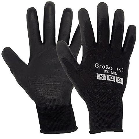 SBS 24paires de gants de travail noir 9L gants de montage, gants de nylon