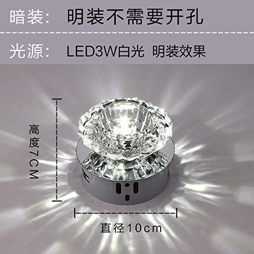 Led/Crystal / Aisle Lamp/Corridor Light/Entrance Lamp/Ceiling Lamp/Spotlight / Ceiling Lamp/Down Lamp/Bull Eye Light/Hole Lamp,3W White (Bright)