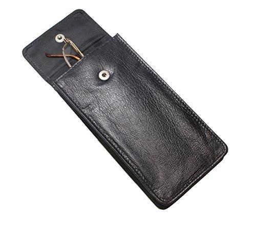 Weiches Leder Spectacle / Glas-Kasten-Halter - (Brille nicht enthalten) - schwarzem Leder (Weiches Leder-auge Glas Fall)