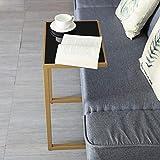 GYTOO Mid-Century Sofa Beistelltisch, moderner schwarzer Kleiner Beistelltisch aus Metall für Wohn- und Schlafzimmer, 45 × 32 × 64 cm