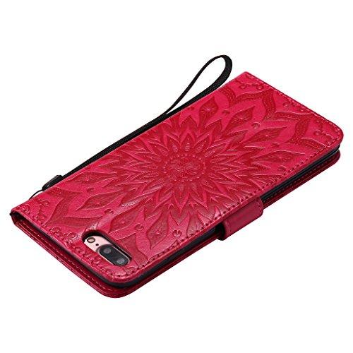 """Crisant 3D Geprägte Sonne Drucken Design schutzhülle für Apple iPhone 7 Plus 5.5"""" (5,5''),PU Leder Wallet Handytasche Flip Case Cover Etui Schutz Tasche mit Integrierten Card Kartensteckplätzen und St rot"""