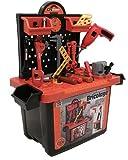Spielzeugwerkbank für Kinder - Werkzeug und funktionierender Bohrer in Werkzeugkoffer - Mehr als 50 Teile