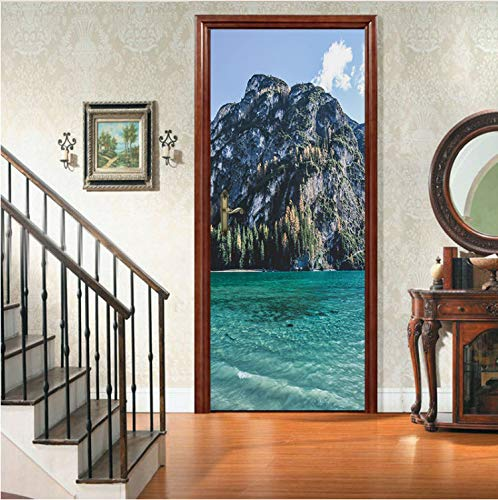 Xiaodan's shop Türaufkleber 3D Inseln Blue Sea Mural PVC Selbstklebende Tür Tapete Küche Dekor Möbelkunst Tür Poster 90X200 cm