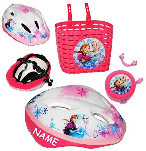 3 tlg. Set: Kinderhelm + Fahrradklingel + Fahrradkorb - ' Disney FROZEN - die Eiskönigin ' - incl. Name - Gr. 52 - 56 - circa 3 bis 15 Jahre - Größen verstellbarer /...