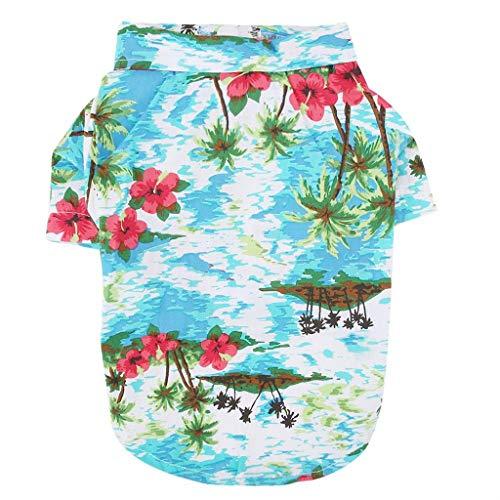 er Kleidung Kleine Hunde Kleid Hawaii Drucken Hemd Weste T-Shirt Hunde Welpen Katze Atmungsaktiv Rock (L, Grün) ()