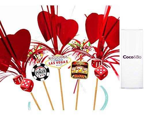 Coco Bo Fabulous Las Vegas &Herz Rot, Handarbeit, Glitzer, 15.24 cm Cocktail Party Zubehör, Pokermotive für James Bond Mottoparty