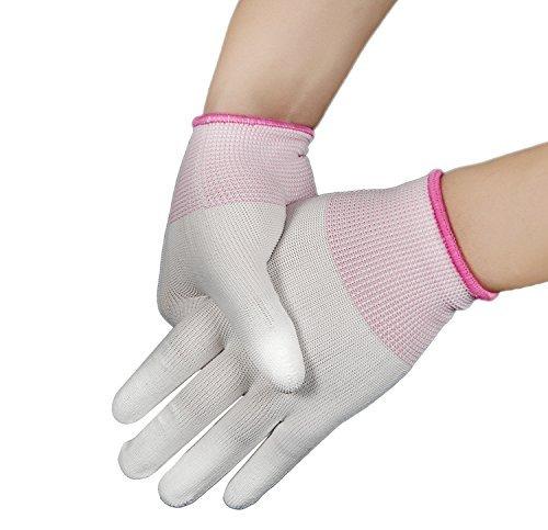 Generic M: PU-beschichtetes Finger Nylon Handschuhe mit flexiblem Gummi Finger Gute Arbeit selbst elastisch gestricktes Line Handschuhe atmungsaktiv Gummi Handschuhe (Beschichtete Gummi Arbeits-handschuhe)