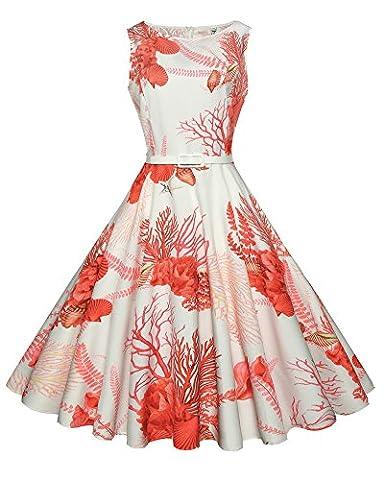 Damen Retro Ärmel Print Kleid Hepburn Stil Rockabilly Swing Partykleid Cocktailkleid Rot L