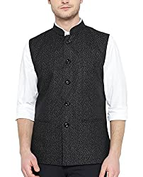 Shaftesbury London Mens Cotton Nehru Jacket (H2191--38, Black, 38)