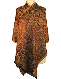 Vozaf Women's Wool Viscose Shawls - Brown