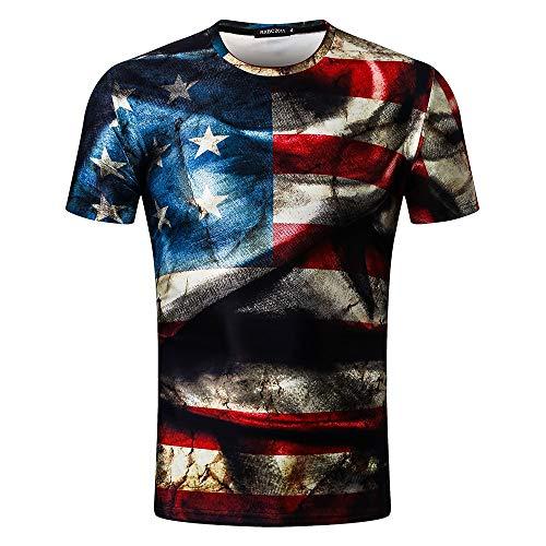 LSAltd Sommer Männer Retro Amerikanische Flagge Die Alte Herrlichkeit 8D Print Casual T-Shirt Tops Bluse