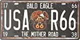 De águila calva USA-R66 la carretera madre, función de matrícula de decorativo con forma de reptil, con etiqueta número de, tamaño 15,24 cm X 30,48 cm
