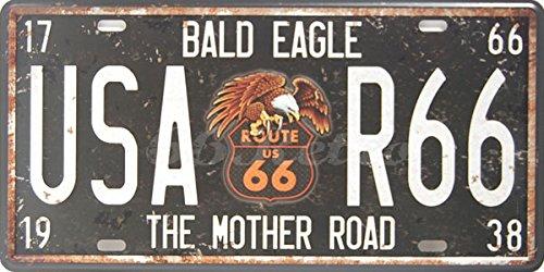 USA-Adler R66 The Mother Road, automatische Kennzeichenbeleuchtung für Dekoration, geprägt, 15.24 cm, Größe Anhänger Nummer X 30.48 cm
