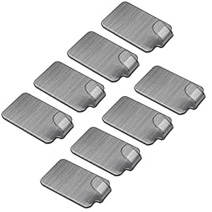 soyion self adhesive hooks 8 pcs waterprrof 304 stainless steel heavy duty hooks removable for. Black Bedroom Furniture Sets. Home Design Ideas