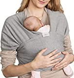 Elastisches Tragetuch Baby | Wickeltuch Baby Tuch | Babytrage Neugeborene bis Kleinkinder 15kg mit 3 Tragepositionen | 95% Baumwolle 5% Lycra - Dunkelgrau