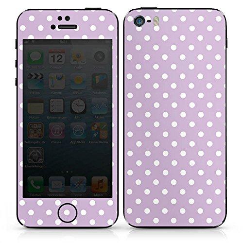 Apple iPhone 5 Case Skin Sticker aus Vinyl-Folie Aufkleber Punkte Flieder Polka DesignSkins® glänzend