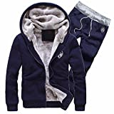 FRAUIT Herren Trainingsanzug Warm Jacke Fleece Sport Kapuzenpulli Mantel Hoodies + Pants Sweat Suit Männer Jacke Sweatjacke Kapuzenjacke Top Outwear Bluse Volle Größe