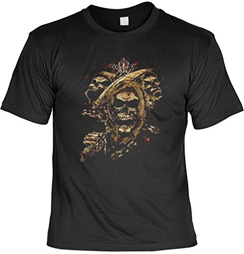Totenkopf Shirt für Horror Fans Totenköpfe USA Motiv T-Shirt Skelett T-Shirts für Herren Männershirt Laiberl Leiberl Geschenk für Freunde Schwarz