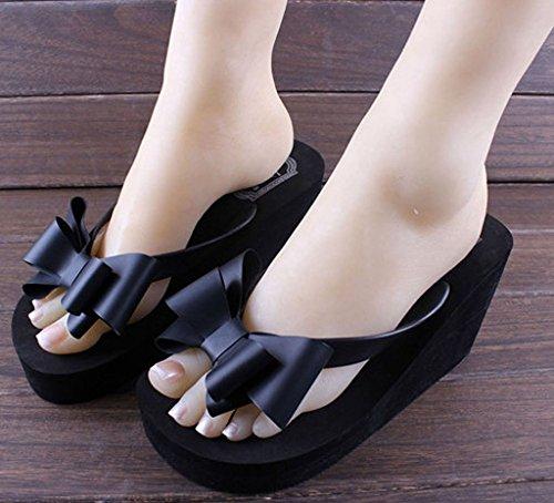 Minetome Femme Sandales Tongs Pantoufles Chaussons Été Fleur Chaussures De Bains Avec Arc Plage Noir