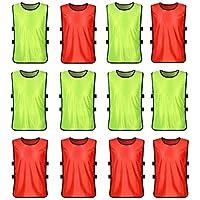 VORCOOL Petos de Futbol para Niños y Jóvenes Petos Deportivos - Tamaño S  (Fluorescente Verde 606273ab9b6