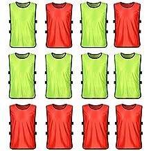 VORCOOL Petos de Futbol para Niños y Jóvenes Petos Deportivos - Tamaño S  (Fluorescente Verde 4a54e41704bc9