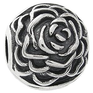 Charm/Anhänger, Rosendesign, rund, Sterlingsilber,Clip,europäische Bettelarmband