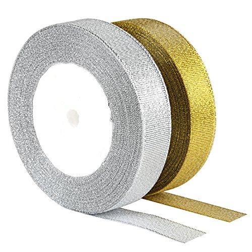 Kesote 2 Rollen Schleifenband Dekoband Geschenkband für Hochzeit Fest Party Geschenk, Gold und Silber