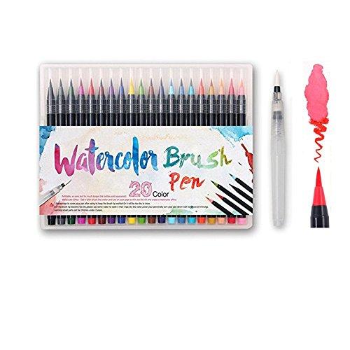 TOPmore Aquarell Pinselstifte-Set – 20 bunte Farben + 1 Wasserpinsel zum Vermischen der Farben, flexibel,Brush Pens Set, Ideal für Erwachsene Malbücher, Manga, Comic, Kalligrafie (20 Farben)