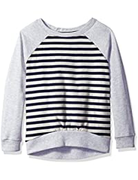 Nautica Girls' French Terry Stripe Pullover with Hi-Low Hem