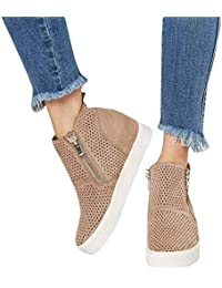 Sneakers Donna Zeppa Platform Stivaletti con Tacco Alte 5Cm Pelle Mocassini  Eleganti Scarpe da Ginnastica Estive ce3de334c47