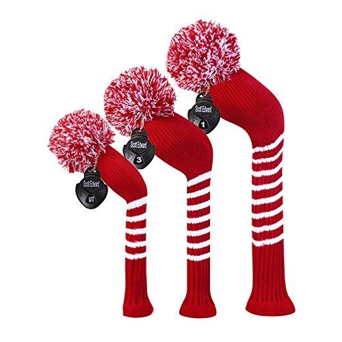 Crimson Red/Dark Red Color Classic Stripe Style Golf Club Pom Pom Headcover, Set of 3, for Driver/fairway/hybrid -