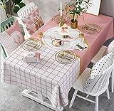 WJYdp Rechteckige Tischdecke Baumwolle Goldenes Elch-Rosa-Weißes Mosaik-Muster-Gewebe Festlich Dekorierte Tischdecken Home Hotel Cover,140X240CM