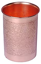 SHIV SHAKTI ARTS Handmade Pure Copper Glass Embossed Designed With Flat Base Volume=300 ml