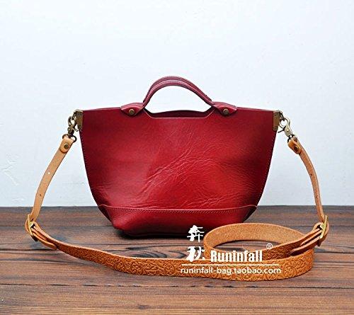 Mobile simple bandoulière en cuir original vintage tote bag Maroon