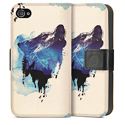 Apple iPhone 5s Housse étui coque protection Loup Illustration Graphique Sideflip Sac