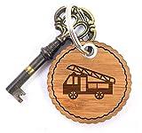 Mr. & Mrs. Panda Rundwelle Schlüsselanhänger Feuerwehr - Feuerwehr Feuerwehrauto Schlüsselanhänger, Anhänger, Taschenanhänger, Glücksbringer, Schlüsselband