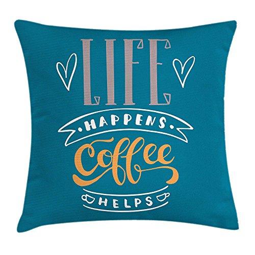 Meimei2federa per cuscino, life happens frase aiuta con doodle tazze di caffè e cuore forme coffee lover theme, decorative square accent pillow case, 45,7x 45,7cm