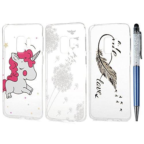 Case für Samsung Galaxy S9 Hülle Premium Feder Muster TPU Silikon Tasche Schutzhülle Cover Handytasche Soft Flex Silikon Schlank Case Bumper Style Handyhülle