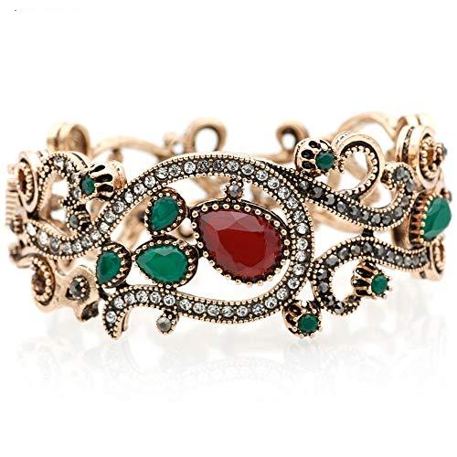 Vintage trendy turkish hollow flower scultura bracciale bangle retro jewelry oro antico kit colore accessori per feste rosso