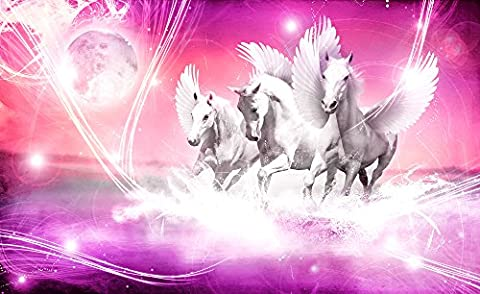 Pink Fairytale Horses Wallpaper Mural