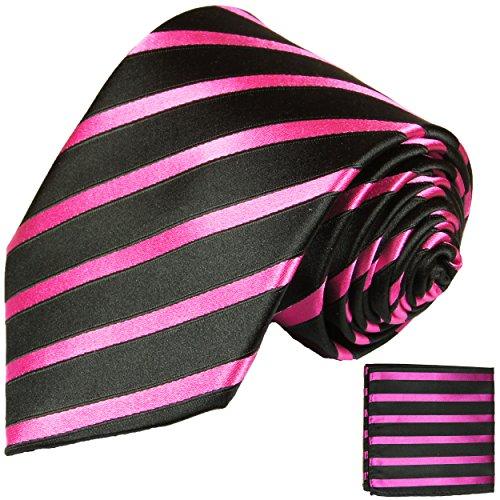 Cravate homme rose noire rayures ensemble de cravate 2 Pièces ( longueur 165cm )