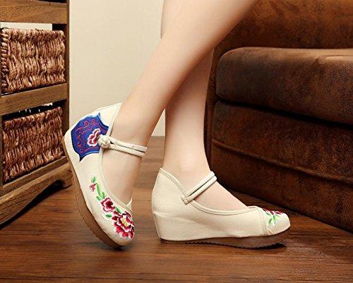 &hua Chaussures brodées, lin, semelle de tendon, style ethnique, chaussures féminines, mode, confortable, chaussures de toile 5cm beige