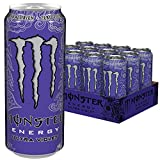 Monster Energy Ultra Violet Energy Drink, klar, erfrischend und herbsüß, ohne Zucker & mit wenig Kalorien, Dosen-Palette, EINWEG (12 x 500 ml)