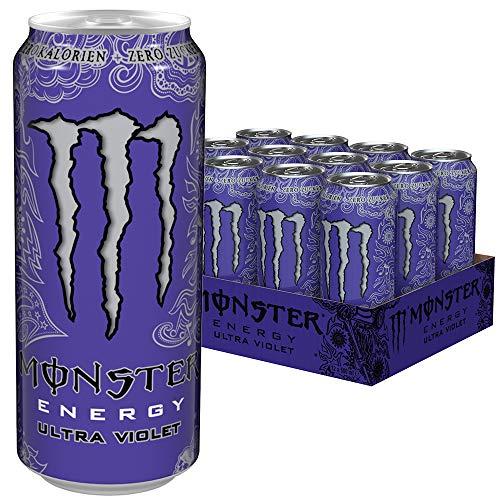 Monster Energy Ultra Violet, Klar, erfrischend und herbsüß, Zero Zucker & Zero Kalorien, Energy Palette, EINWEG Dose (12 x 500 ml) -