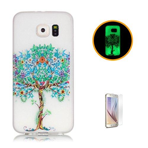 CaseHome Samsung Galaxy S6 Luminous Hülle (Mit Frie Displayschutzfolie) Leuchtende Silikone Rückhülle Für iPhone 6 6s Plus 5.5 Zoll Zoll Silikon Etui Handy Hülle Weiche Transparente Luminous TPU Back  Baum des Lebens