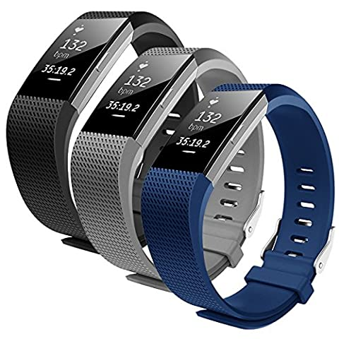 Fitbit Charge 2 Armband, Bepack TPU Soft Silikon verstellbares Sportband f¨¹r Fitbit Charge 2 Smartwatch Herzfrequenz Fitness Wristband (Black+Grey+Blue, S(5.1-6.9)in)