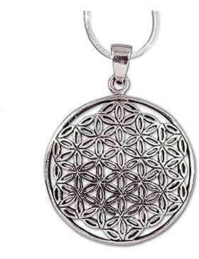 Anhänger Blume des Lebens Lebensblume Amulett 925er Silber Schmuck mit 1,2mm Schlangenkette 45 cm Halskette -...