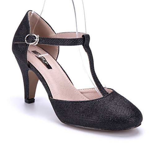 Schuhtempel24 Damen Schuhe Spangenpumps Pumps schwarz Trichterabsatz Glitzer 7 cm